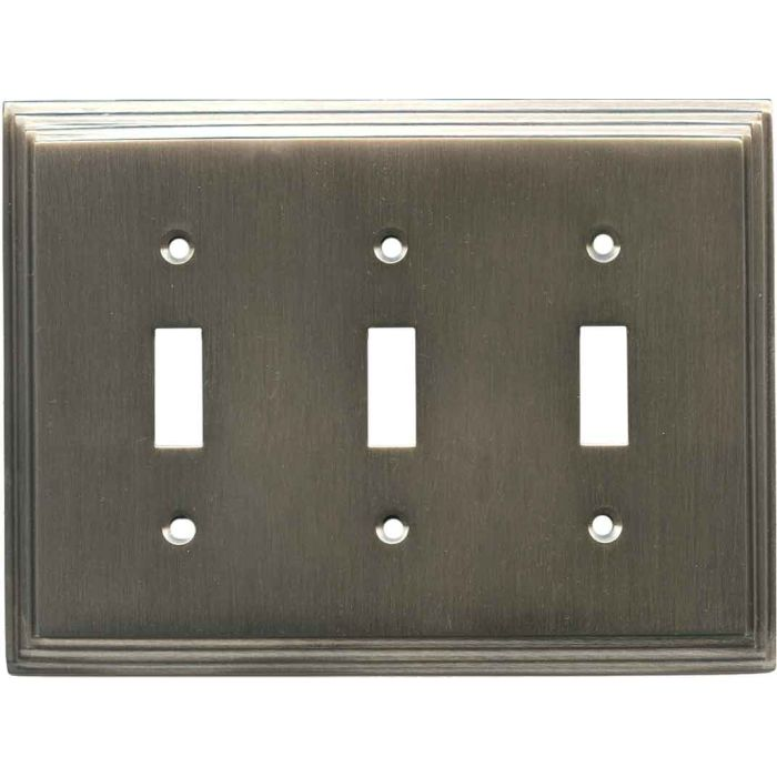 Art Deco Step Antique Pewter Triple 3 Toggle Light Switch Covers