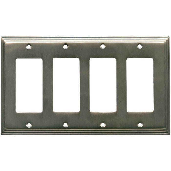 Art Deco Step Antique Pewter 4 Rocker GFCI Decorator Switch Plates