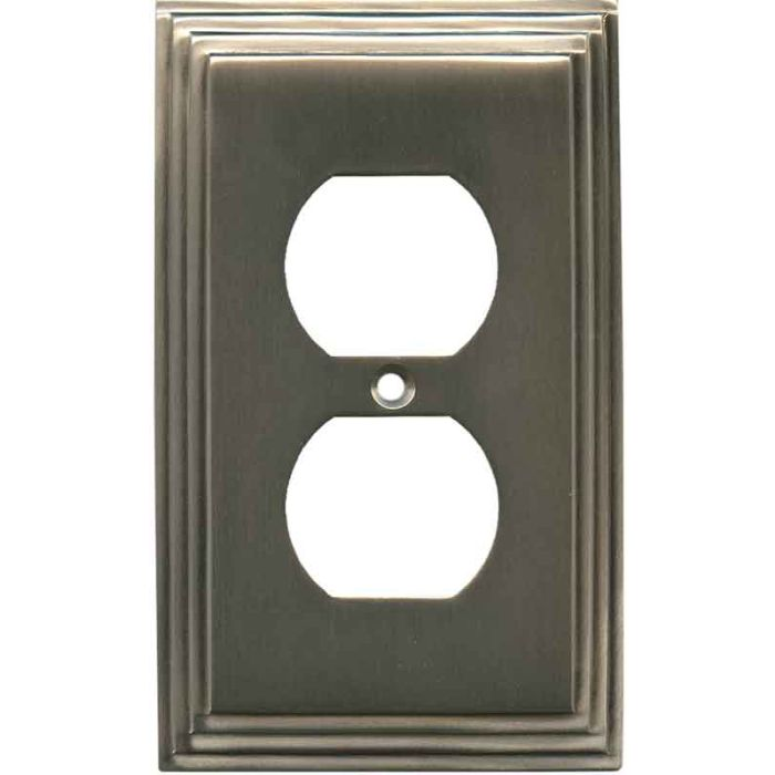 Art Deco Step Antique Pewter 1 Gang Duplex Outlet Cover Wall Plate