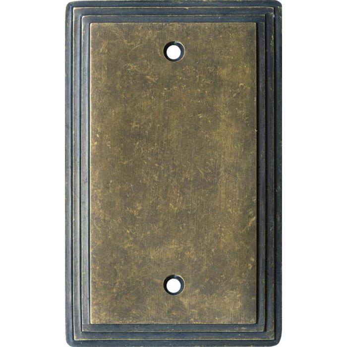 Art Deco Step Mottle Antique Brass - Blank Wall Plates
