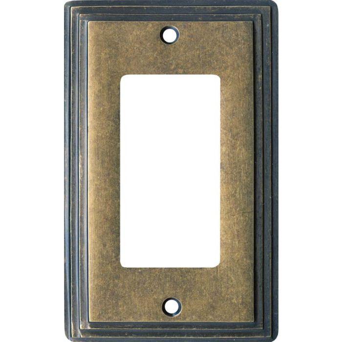 Art Deco Step Mottled Antique Brass Single 1 Gang GFCI Rocker Decora Switch Plate Cover