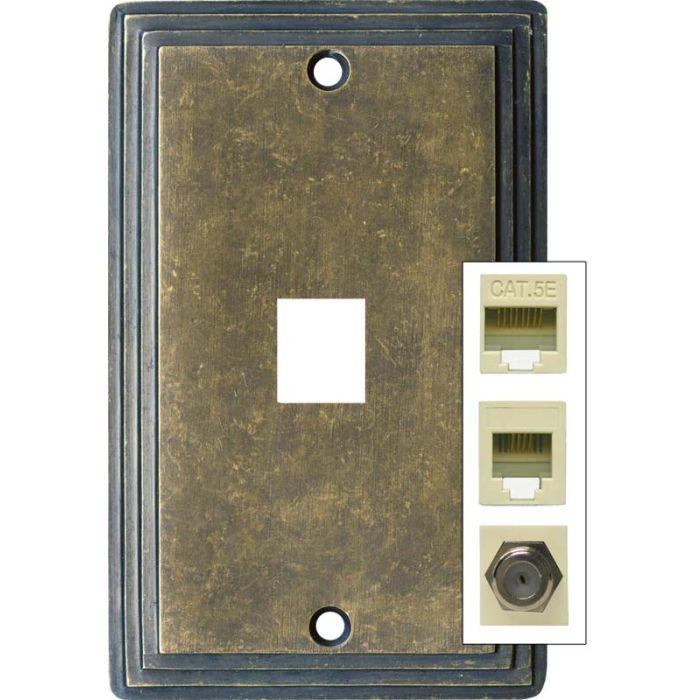 Art Deco Step Mottled Antique Brass 1 Port Modular Wall Plates for Phone, Data, Phone