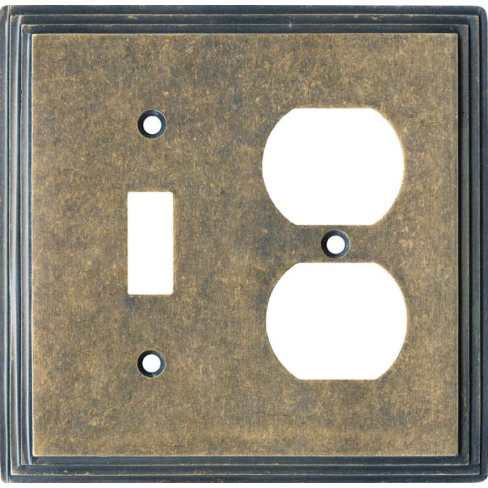 Art Deco Step Mottle Antique Brass - Combination 1 Toggle/Outlet Cover Plates