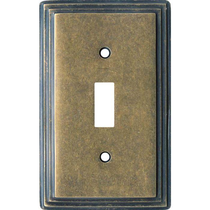 Art Deco Step Mottle Antique Brass - 1 Toggle Light Switch Plates