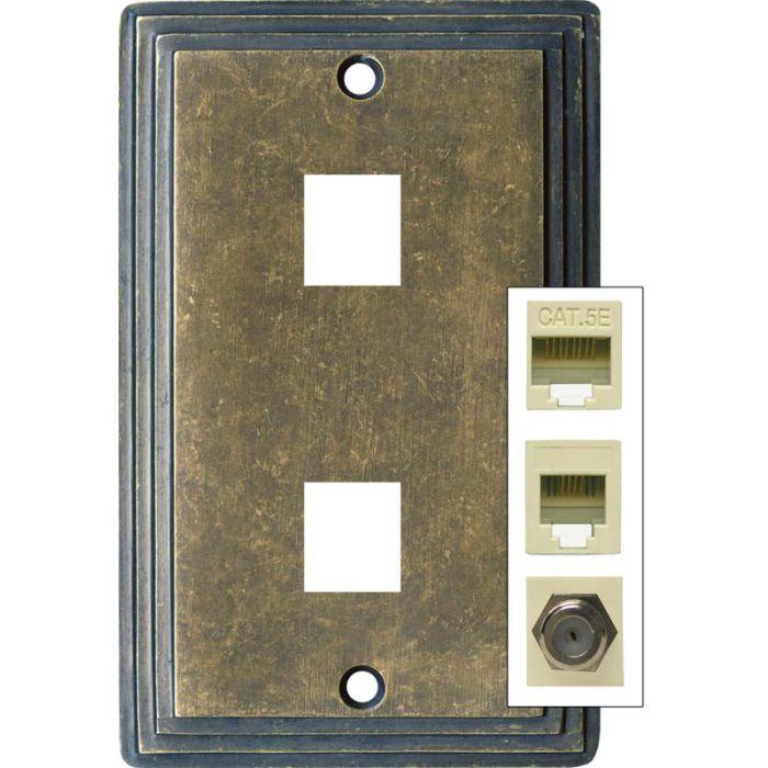 Art Deco Step Mottle Antique Brass - Double Port Modular Wall Plates