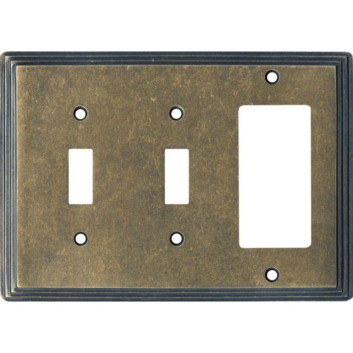 Art Deco Step Mottle Antique Brass - 2 Toggle/1 GFCI Rocker Switchplates