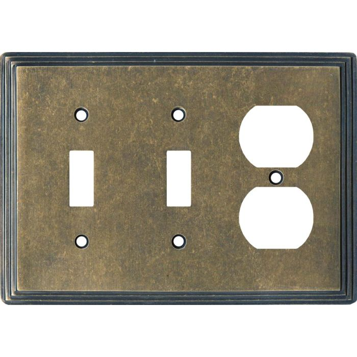 Art Deco Step Mottled Antique Brass Double 2 Toggle / Outlet Combination Wall Plates