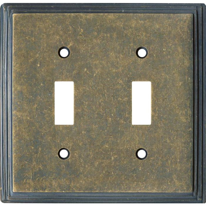 Art Deco Step Mottle Antique Brass - 2 Toggle Switch Plate Covers