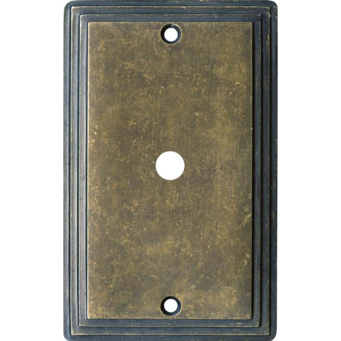 Art Deco Step Mottle Antique Brass - Cable Wall Plates