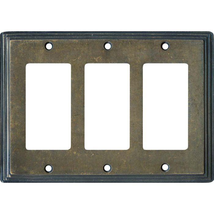 Art Deco Step Mottled Antique Brass Triple 3 Rocker GFCI Decora Light Switch Covers