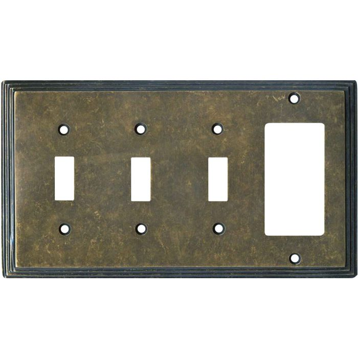 Art Deco Step Mottled Antique Brass Triple 3 Toggle / 1 Rocker GFCI Switch Covers