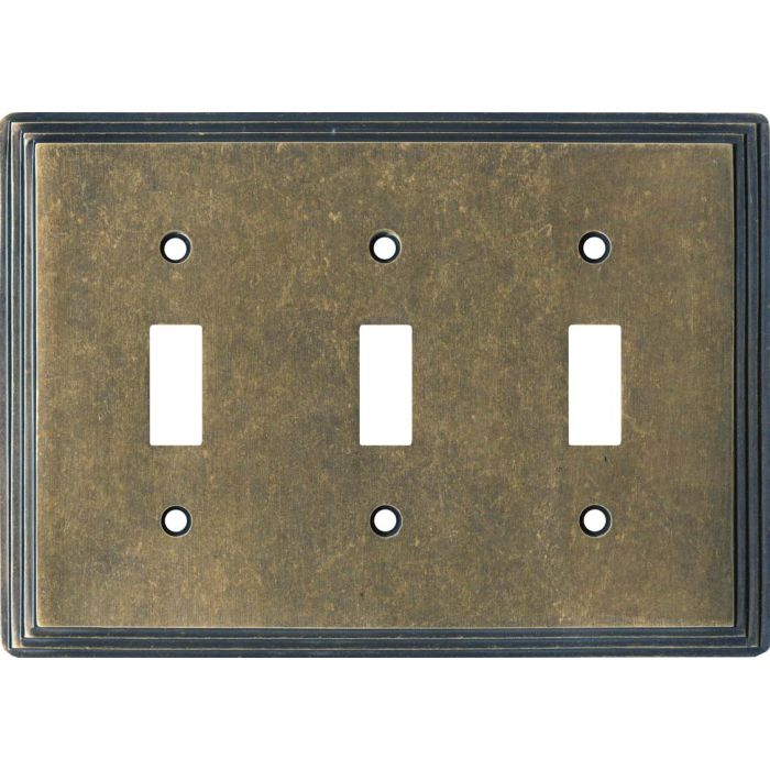 Art Deco Step Mottled Antique Brass Triple 3 Toggle Light Switch Covers