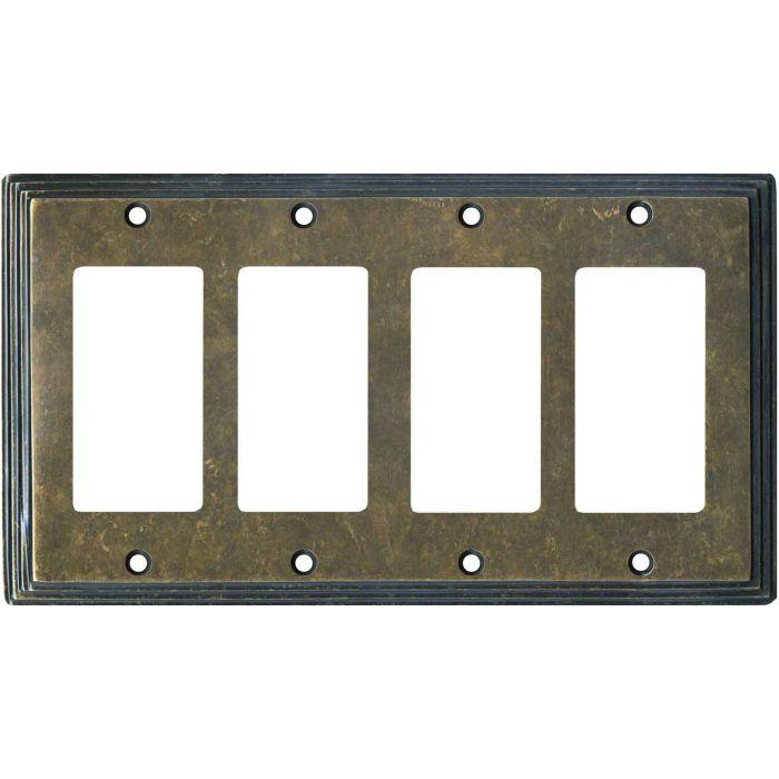 Art Deco Step Mottled Antique Brass 4 Rocker GFCI Decorator Switch Plates