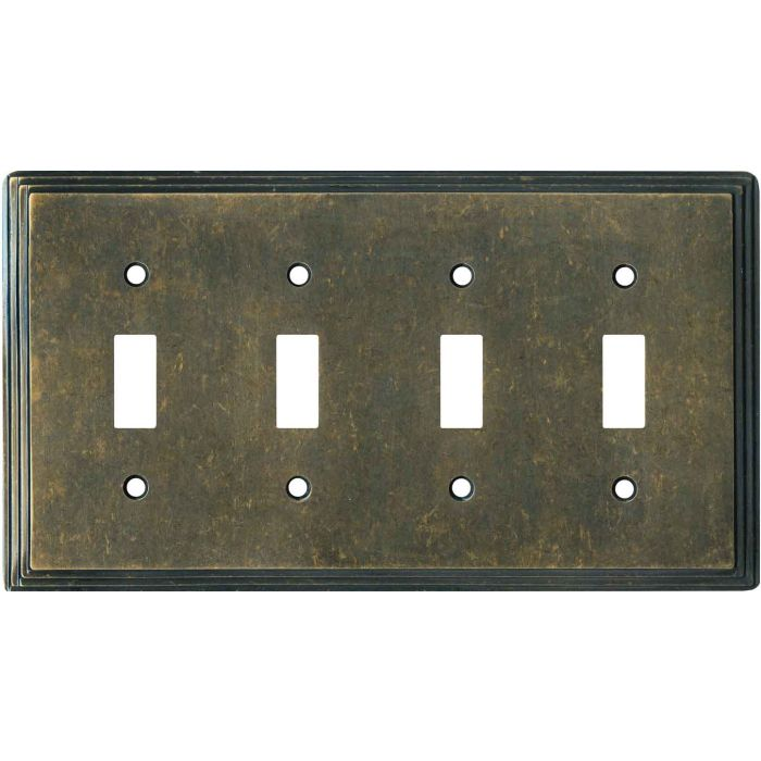 Art Deco Step Mottle Antique Brass - 4 Toggle Light Switch Covers