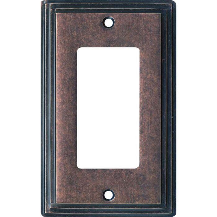 Art Deco Step Mottled Antique Copper Single 1 Gang GFCI Rocker Decora Switch Plate Cover