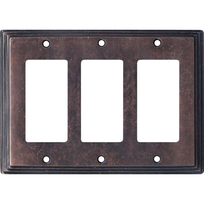 Art Deco Step Mottled Antique Copper Triple 3 Rocker GFCI Decora Light Switch Covers