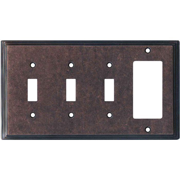 Art Deco Step Mottled Antique Copper Triple 3 Toggle / 1 Rocker GFCI Switch Covers