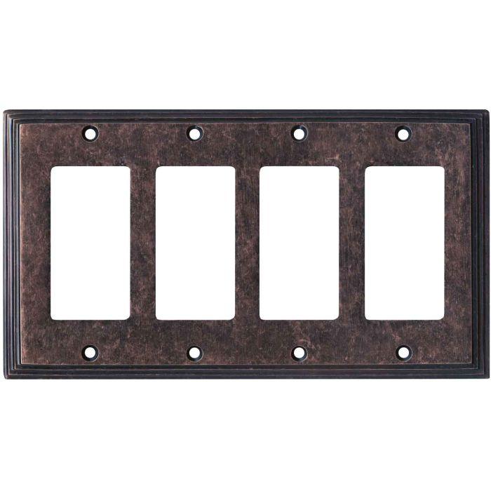 Art Deco Step Mottled Antique Copper 4 Rocker GFCI Decorator Switch Plates