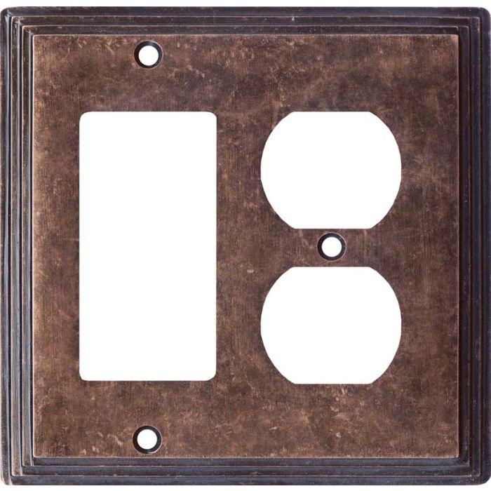 Art Deco Step Mottled Antique Copper Combination GFCI Rocker / Duplex Outlet Wall Plates