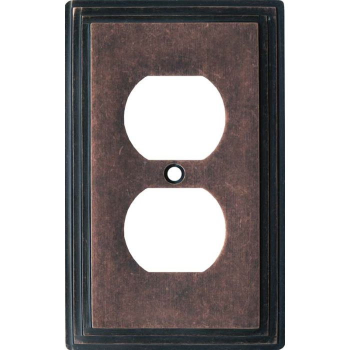 Art Deco Step Mottled Antique Copper 1 Gang Duplex Outlet Cover Wall Plate