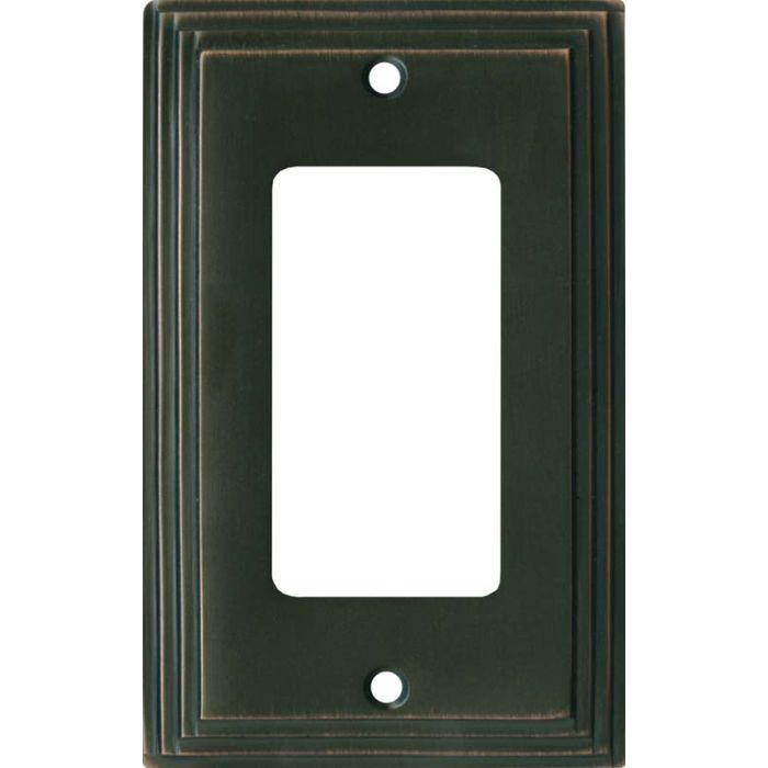 Art Deco Step Oil Rubbed Bronze Single 1 Gang GFCI Rocker Decora Switch Plate Cover