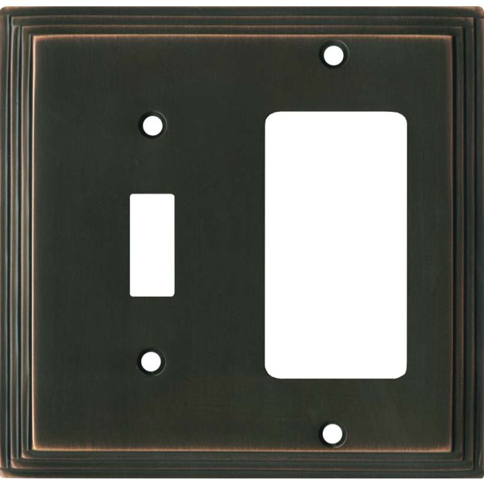 Art Deco Step Oil Rubbed Bronze - Combination 1 Toggle/Rocker Switch Covers