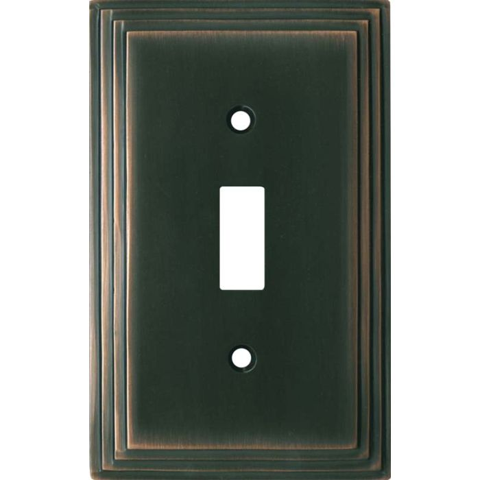 Art Deco Step Oil Rubbed Bronze - 1 Toggle Light Switch Plates