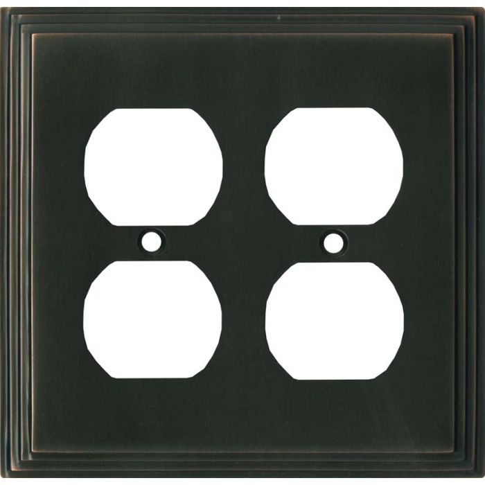 Art Deco Step Oil Rubbed Bronze - 2 Gang Electrical Outlet Covers