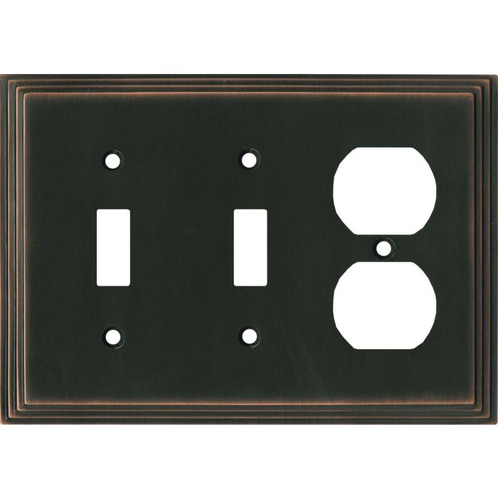 Art Deco Step Oil Rubbed Bronze - 2 Toggle/Outlet Combo Wallplates