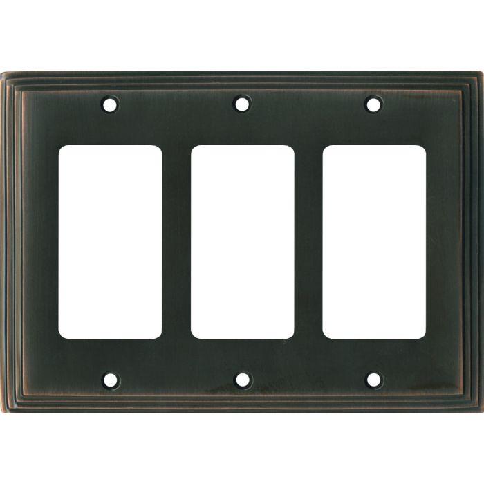 Art Deco Step Oil Rubbed Bronze Triple 3 Rocker GFCI Decora Light Switch Covers