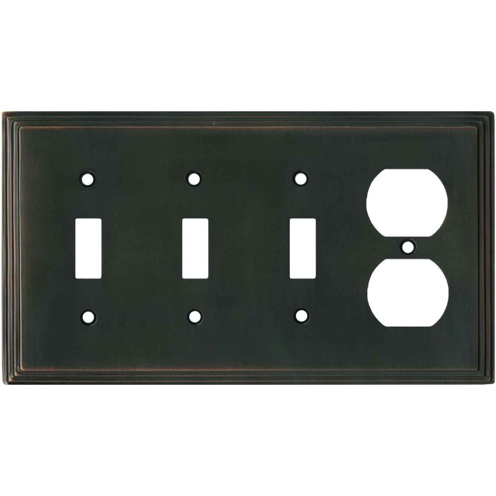 Art Deco Step Oil Rubbed Bronze - 3 Toggle/Outlet Combo Wallplates