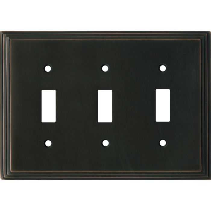 Art Deco Step Oil Rubbed Bronze Triple 3 Toggle Light Switch Covers