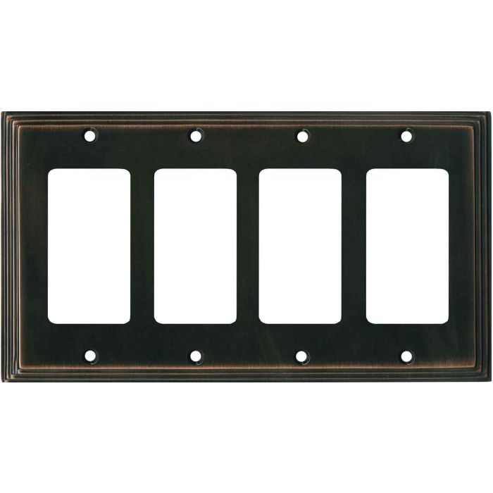 Art Deco Step Oil Rubbed Bronze - 4 Rocker GFCI Decora Switch Plates