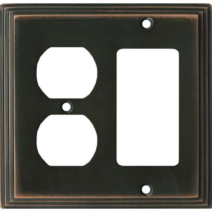 Art Deco Step Oil Rubbed Bronze - GFCI Rocker/Duplex Outlet Wall Plates
