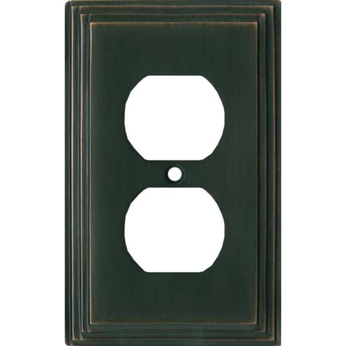 Art Deco Step Oil Rubbed Bronze 1 Gang Duplex Outlet Cover Wall Plate