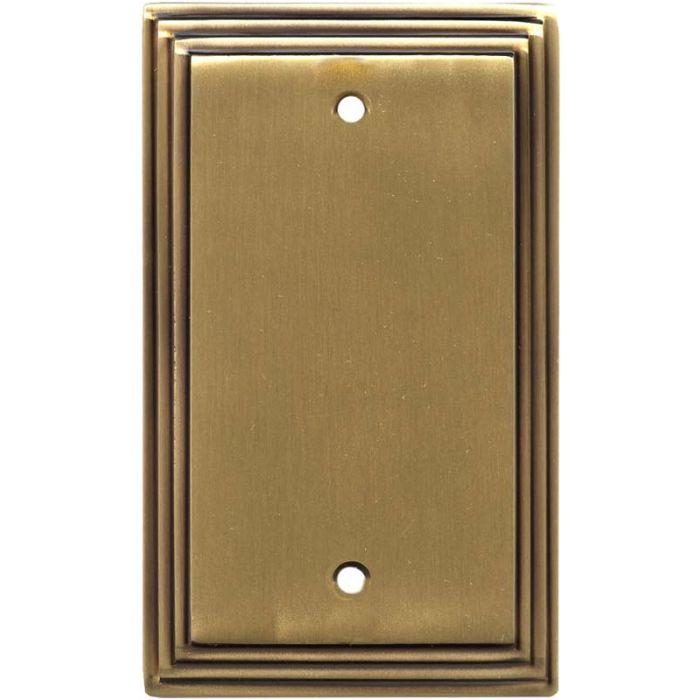Art Deco Step Satin Antique Brass - Blank Wall Plates