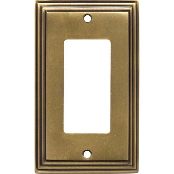 Art Deco Step Satin Antique Brass GFCI Rocker Switch Plates