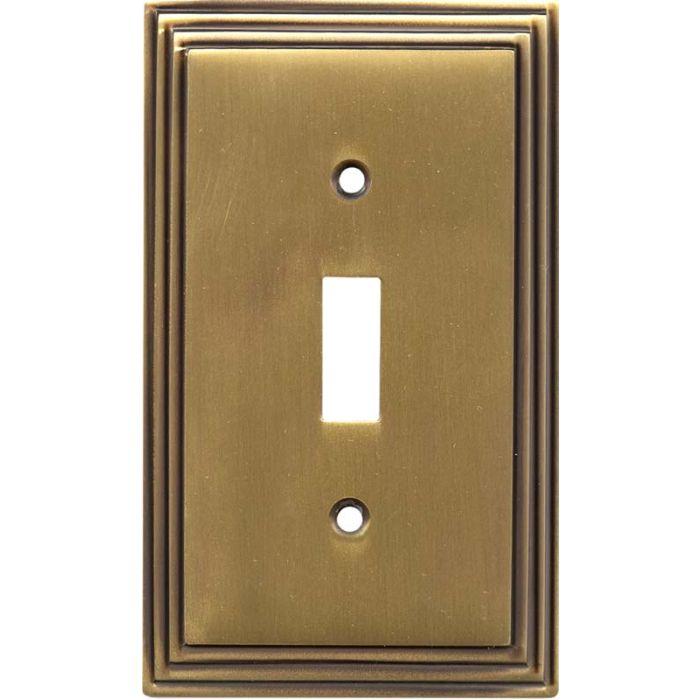 Art Deco Step Antique Brass Single 1 Toggle Light Switch Plates
