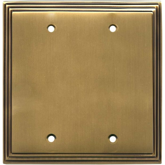 Art Deco Step Antique Brass Double Blank Wallplate Covers