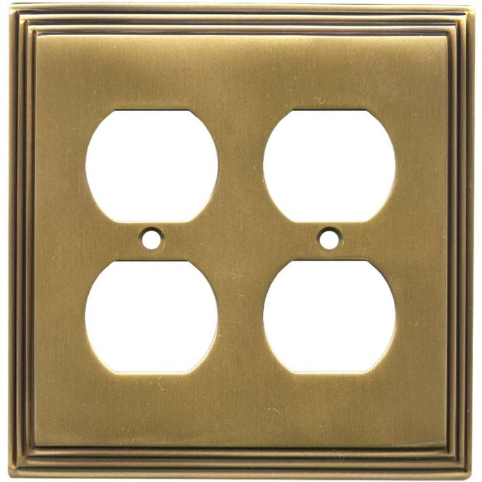 Art Deco Step Antique Brass Wall Plates Outlet Covers