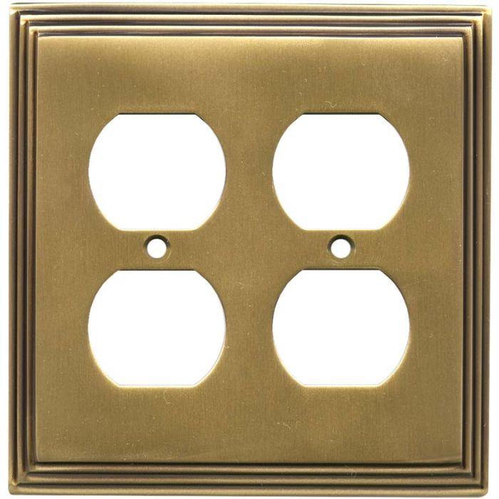 Art Deco Step Antique Brass 2 Gang Duplex Outlet Wall Plate Cover