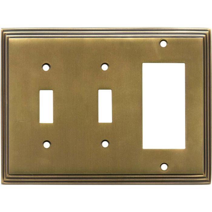 Art Deco Step Satin Antique Brass - 2 Toggle/1 GFCI Rocker Switchplates