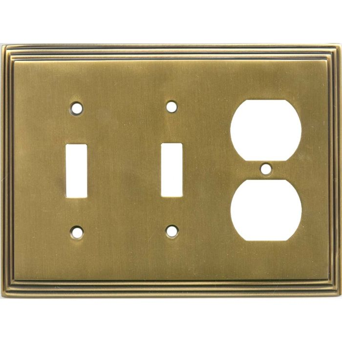 Art Deco Step Antique Brass Double 2 Toggle / Outlet Combination Wall Plates