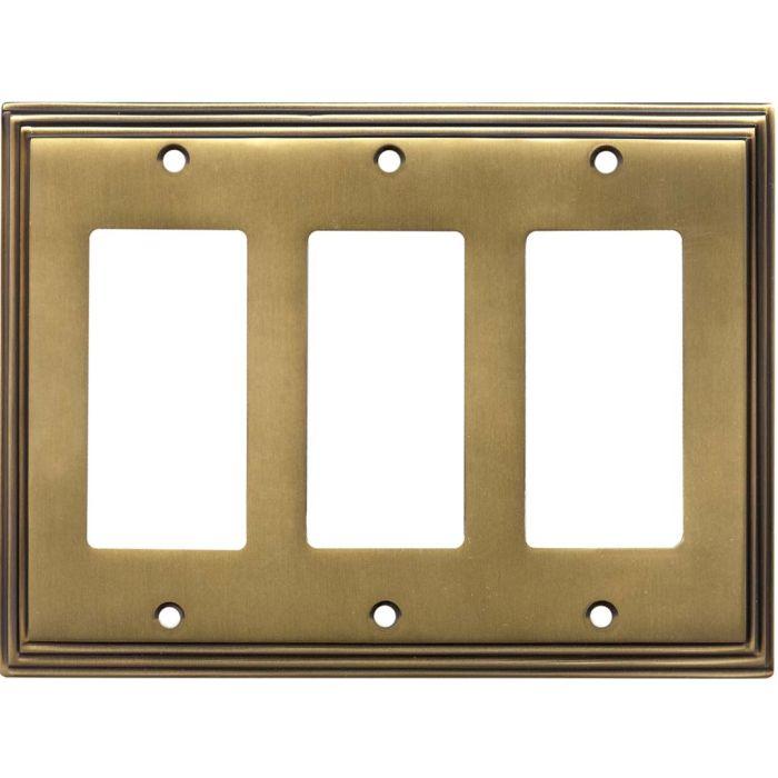 Art Deco Step Antique Brass Triple 3 Rocker GFCI Decora Light Switch Covers