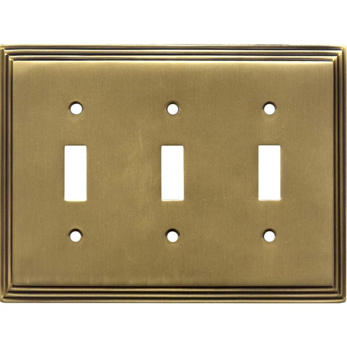 Art Deco Step Antique Brass Triple 3 Toggle Light Switch Covers