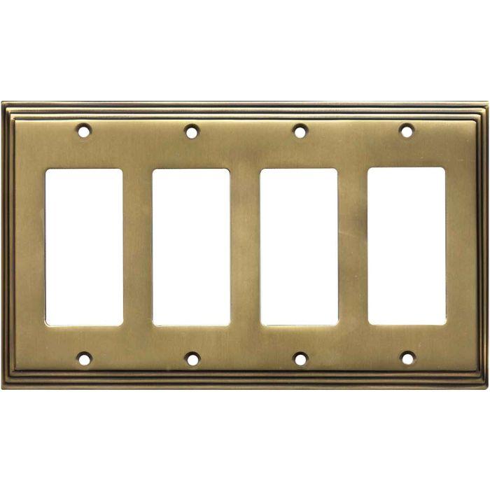 Art Deco Step Satin Antique Brass - 4 Rocker GFCI Decora Switch Plates