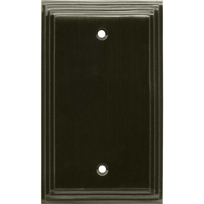 Art Deco Step Satin Black Nickel Blank Wall Plate Cover