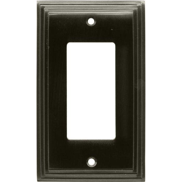 Art Deco Step Satin Black Nickel Single 1 Gang GFCI Rocker Decora Switch Plate Cover