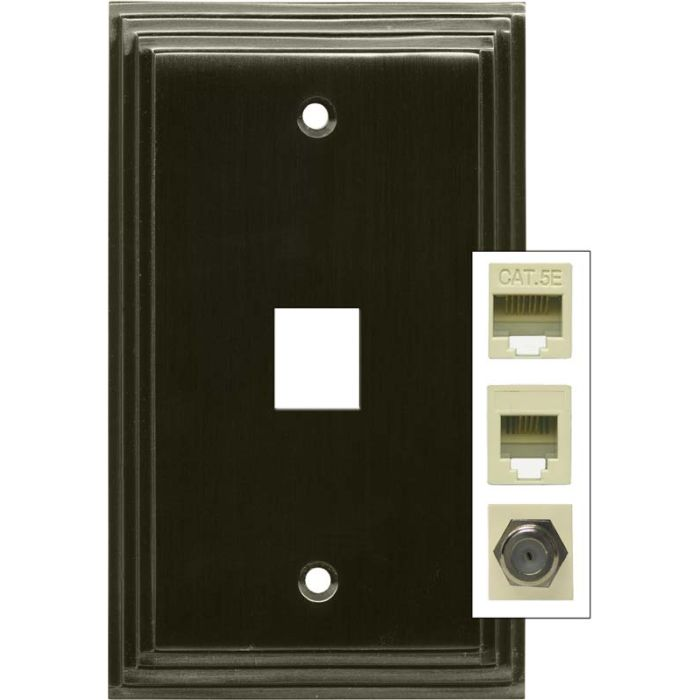 Art Deco Step Satin Black Nickel 1 Port Modular Wall Plates for Phone, Data, Phone