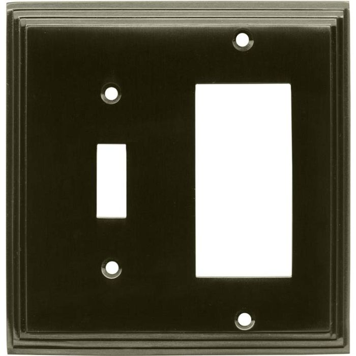 Art Deco Step Satin Black Nickel - Combination 1 Toggle/Rocker Switch Covers